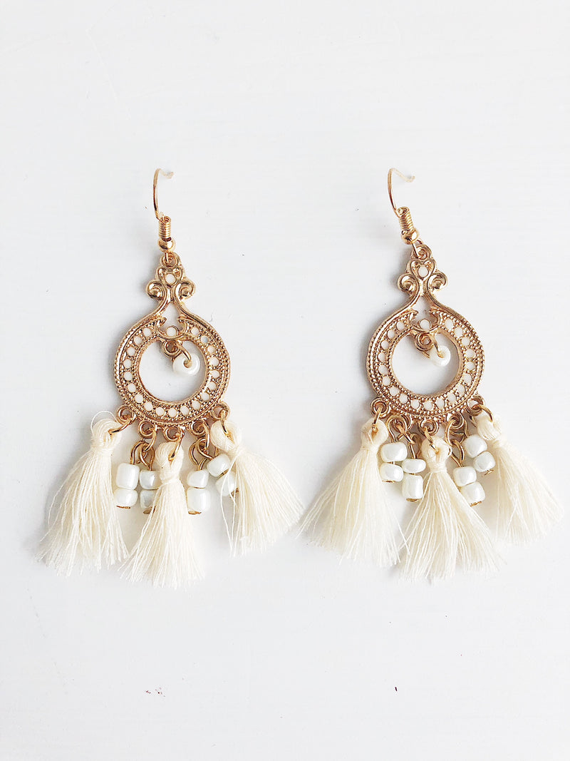 Ankara Tassel Earrings - White