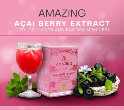 Amazing Acai Berry Extract with Collagen and Bacopa Monnieri Powdered Drink Mix