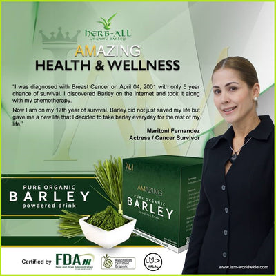 Amazing Pure Organic Barley Powder Drink (4 Boxes - 40 Sachets)