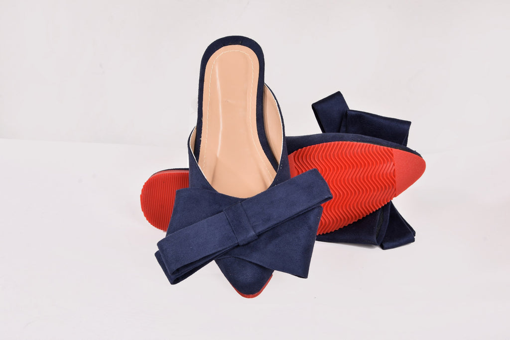 Rina Pointed Mules Navy Blue