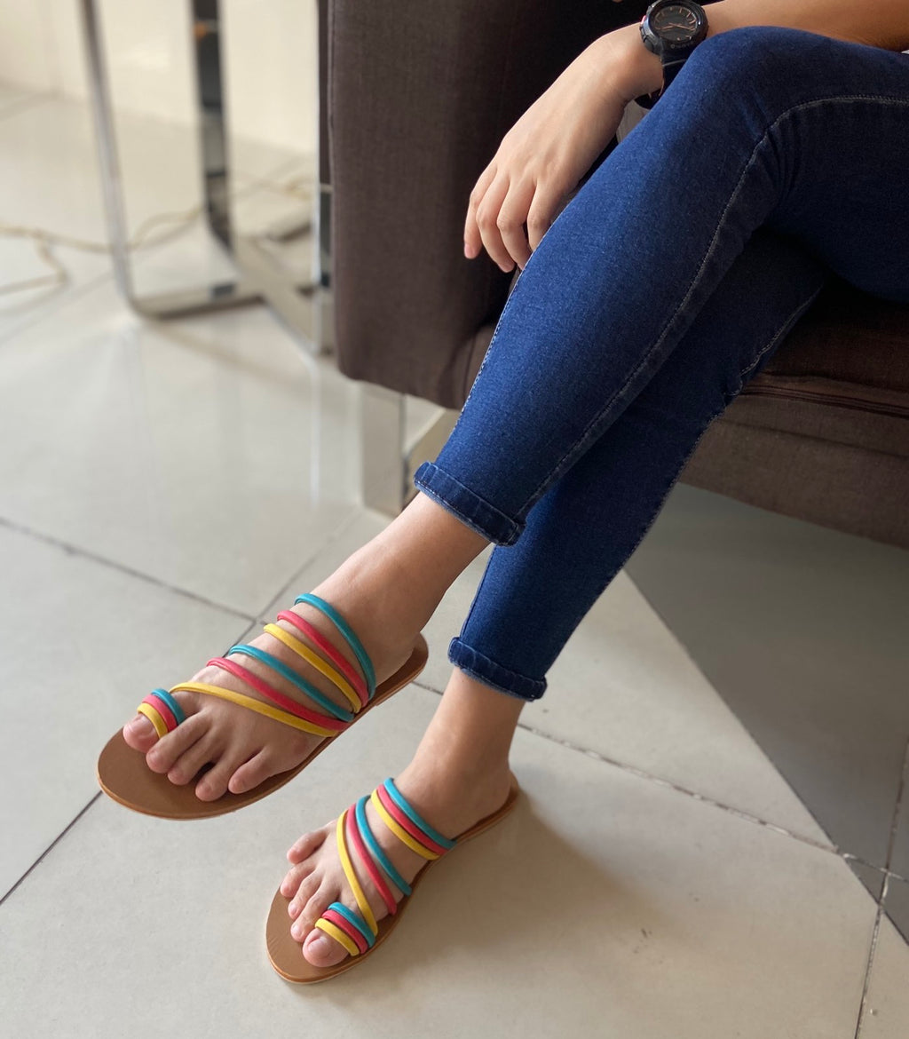Multi color strappy sandals