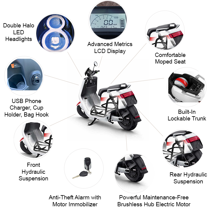 Zoom USA 1500 Watts Electric Moped Scooter Promotional Sale!