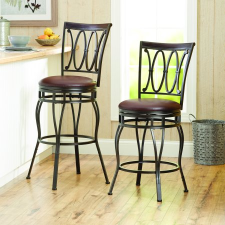 Pleasant Set Of 2 Adjustable Height Swivel Counter Barstool Oil Rubbed Bronze Faux Leather 24 Alphanode Cool Chair Designs And Ideas Alphanodeonline