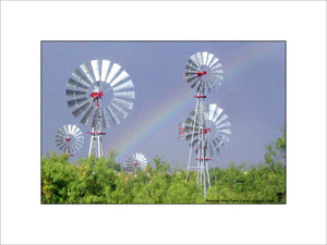 Steel Windmills with Rainbow