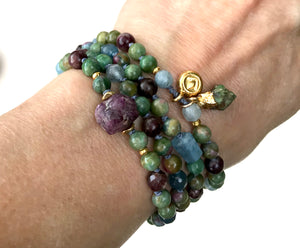 Loving Heart 108 Mala Beads Ruby Zoisite Ruby Tourmaline and Aquamarine Knotted Bracelet Yoga Jewelry Meditation Beads