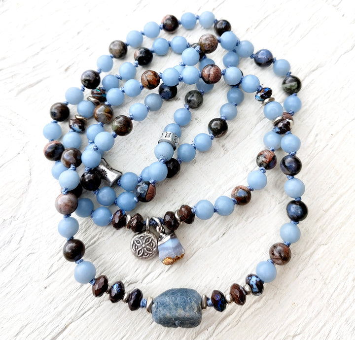 Calm and Renew - 108 Mala Beads - Angelite Bracelet - Sapphire Mala Bracelet - Yoga Beads - Healing Crystals - Prayer Beads