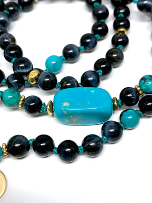 Turquoise and Blue Tiger Eye Bracelet 108 Mala Beads Third Eye Chakra Yoga Jewelry December Birthstone Gift For Her
