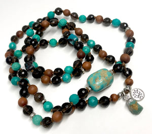 108 Mala Beads for Prosperity, Protection and Good Luck Turquoise Bracelet Yoga Jewelry Smoky topaz Sandalwood Chrysocolla Infinity Necklace