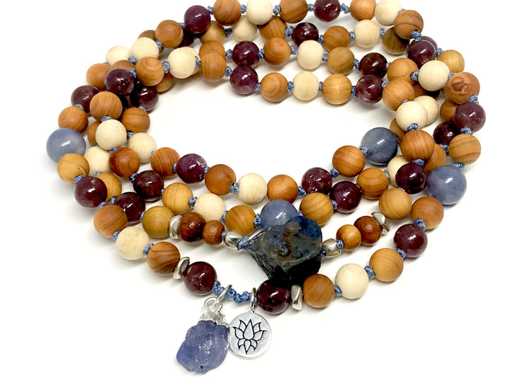Sandalwood and Tanzanite Mala Bracelet for Grounding, Increasing Energy Vibration and Protection Yoga Jewelry