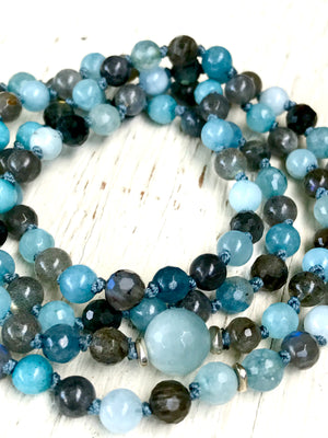 108 Mala Beads Aquamarine Mala Bracelet  March Birthstone Boho Jewelry Yoga Gift, Japa Mala