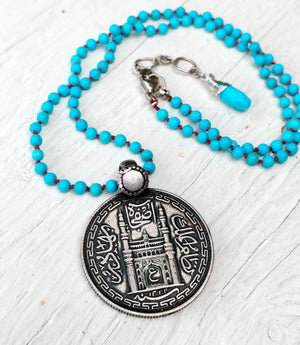 Rajasthan Indian Iskcon Temple (Krishna ) Silver Pendant - Knotted Turquoise Necklace - Protection - Boho Jewelry - Ethnic Jewelry