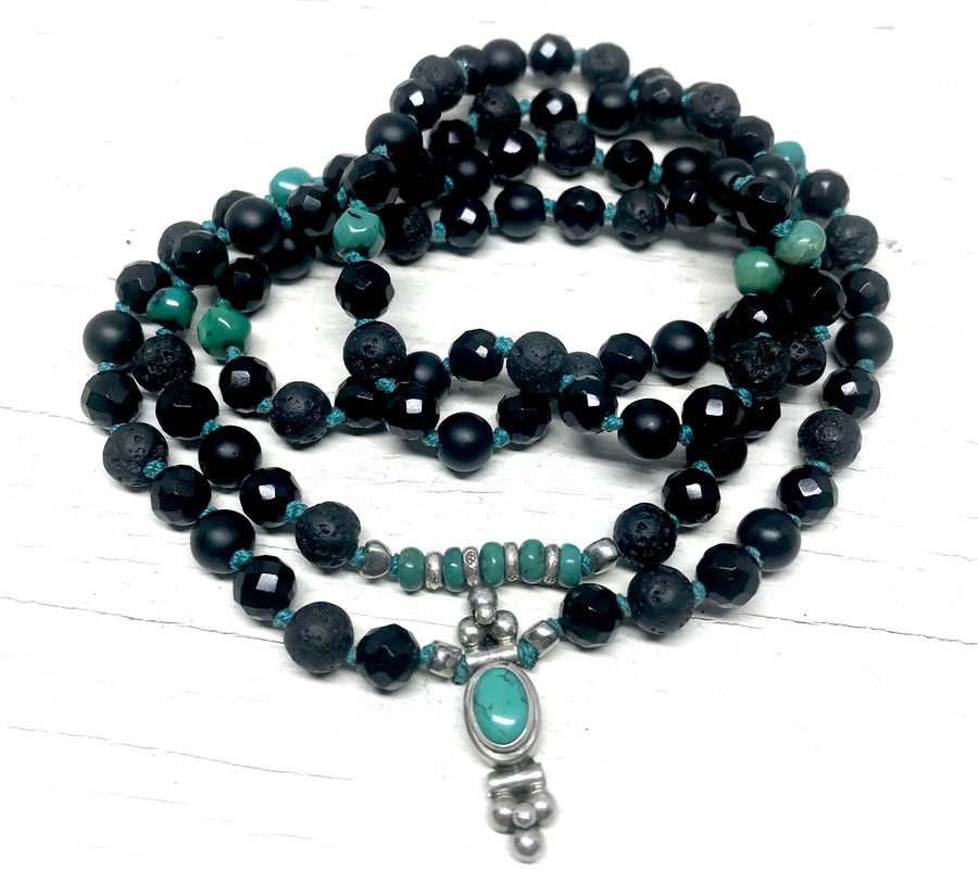 GROUND AND PROTECTION Mala Beads - Black Tourmaline - Onyx & Turquoise 108 Mala Necklace - Turquoise Bracelet