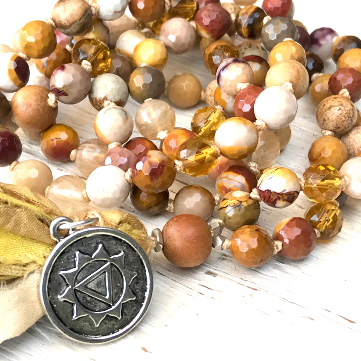 Solar Plexus Mala Beads- Manipura Chakra Necklace - PERSONAL POWER - Self Esteem - Third Chakra Jewelry - Yoga Gift with Meaning