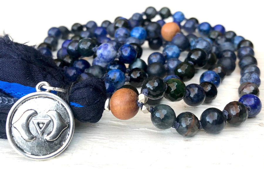 Third Eye Chakra Mala Necklace - TRUTH SEEKER - INTUITION - Courage- Ajna Chakra Mala Beads - Spiritual Gift - Mala for Him - Yoga Jewelry