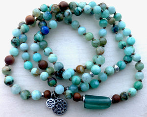 Chrysocolla Azurite and Sandalwood Mala Bracelet with Roman Glass for Peace, Harmony and Heart Opening