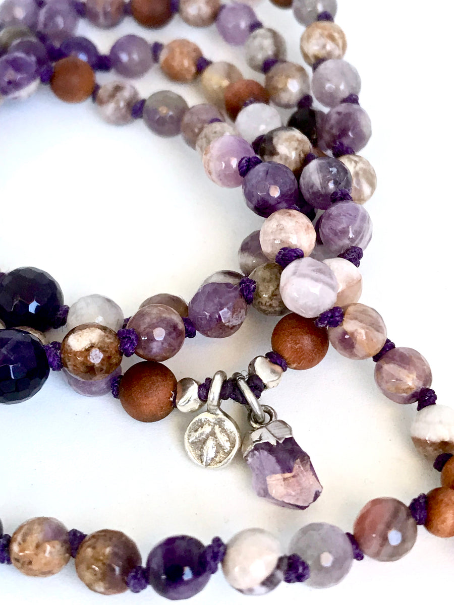 Amethyst and Sandalwood Knotted Mala Beads for Intuition and Addiction Relief