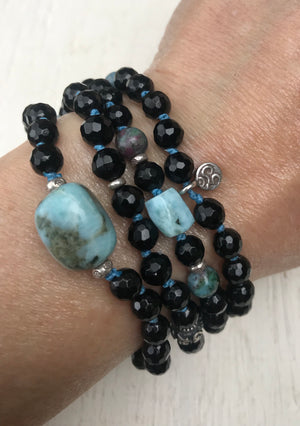 Black Tourmaline Mala Bracelet with Larimar and Ruby Fucshite to Remove Negative Energy, Grounding, Protection and Healing