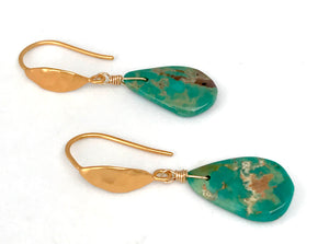 Arizona Turquoise with 14K Gold Filled Hammered Ear Wires for Protection and Healing, December Birthstone