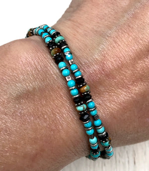 Arizona Turquoise Iolite and Thai Silver Beaded Bracelet for Protection, Intuition and Emotional Healing