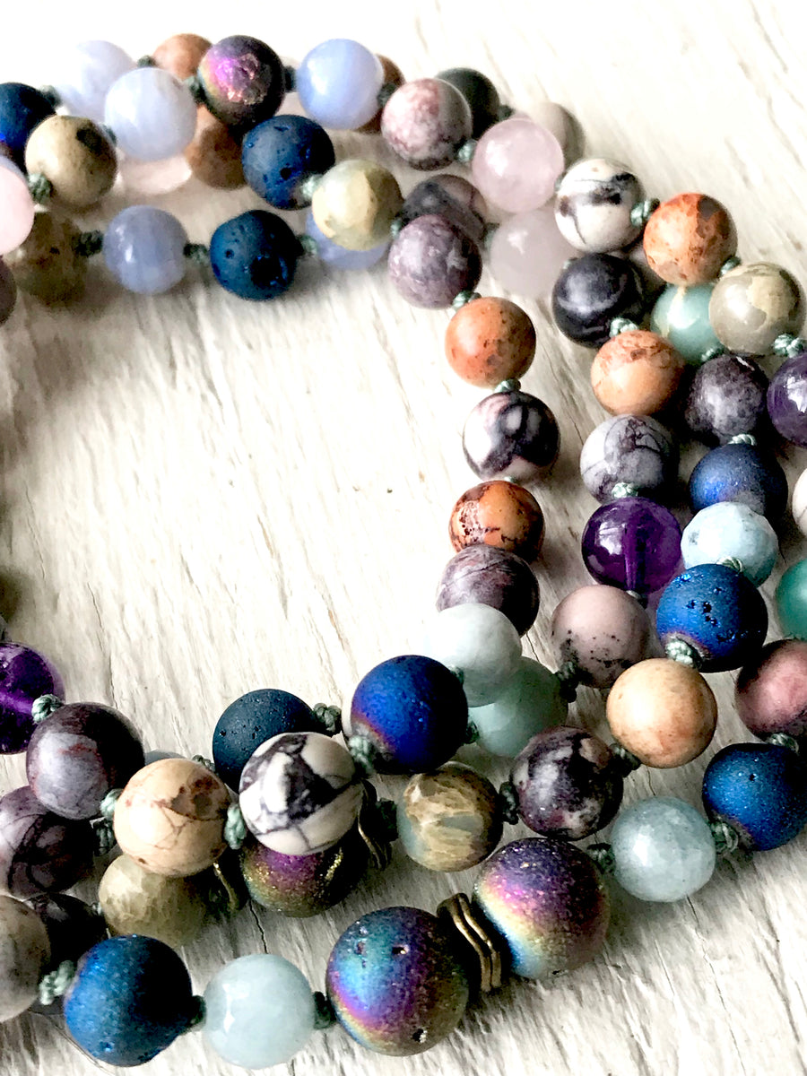 Multi-Gemstone Mala Necklace for Chakra Healing, Positivity , Abundance and Harmony