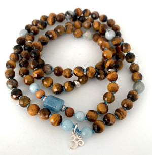 Tiger Eye and Aquamarine 108 Mala Bracelet for Self Confidence and Personal Power