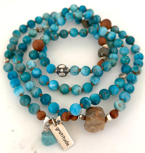 Manifestation Blue Apatite Knotted Mala Bracelet with Sandalwood, Labradorite and Raw Sapphire for Abundance, Harmony and Intuition