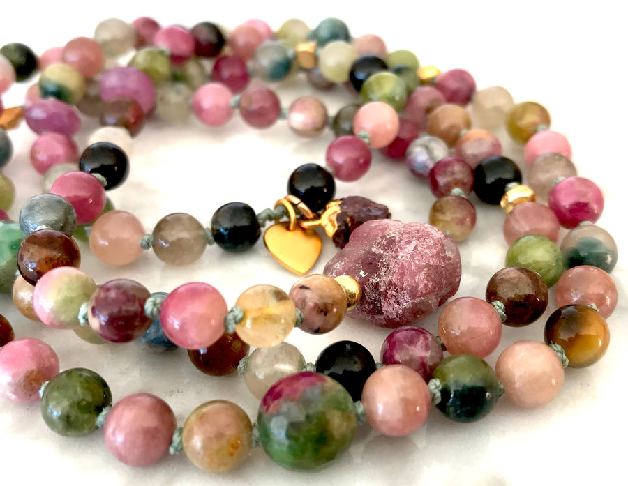Multi-Tourmaline 108 Mala Bracelet for Heart Opening, Compassion and Happiness