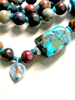 Bohemian Knotted Mala Bracelet with Turquoise, Jasper and Chrysocolla Sterling Silver Lotus Charm for Grounding