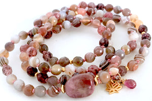 Awaken your Heart Mala Beads, Botswana Agate, Cherry Quartz and Pink Tourmaline 108 Mala Necklace