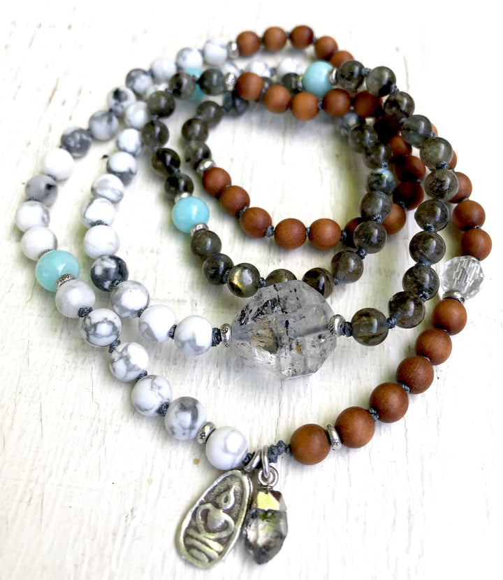 Enlightenment 108 Mala Beads Herkimer Diamond Labradorite Howlite Sandalwood Knotted Bracelet to open The Crown Chakra