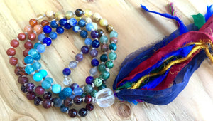 Chakra Mala Long Tassel Necklace for Balance, Meditation and Emotional Healing
