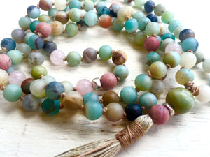 Amazonite and Rose Quart Yoga Mala for Peace of Mind and Emotional Healing