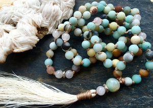 Amazonite and Rose Quartz Long Tassel Necklace to Open the Heart