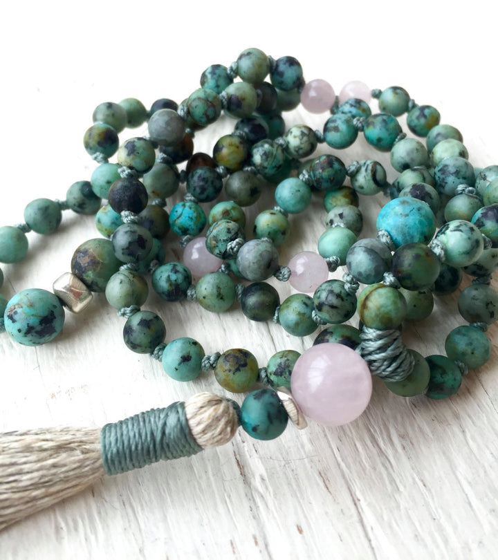 Boho African Turquoise and Rose Quartz for Spiritual Awareness and Protection