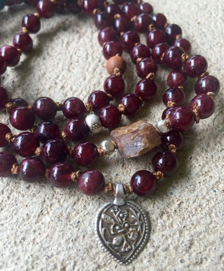 Boho Garnet and Sapphire 108 Beaded Bracelet with Hanuman Pendant for Grounding January Birthstone