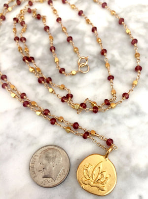 Long Garnet Necklace 108 Mala Necklace  January Birthstone Wire Wrapped Rosary, Yoga Gift, Spiritual Jewelry
