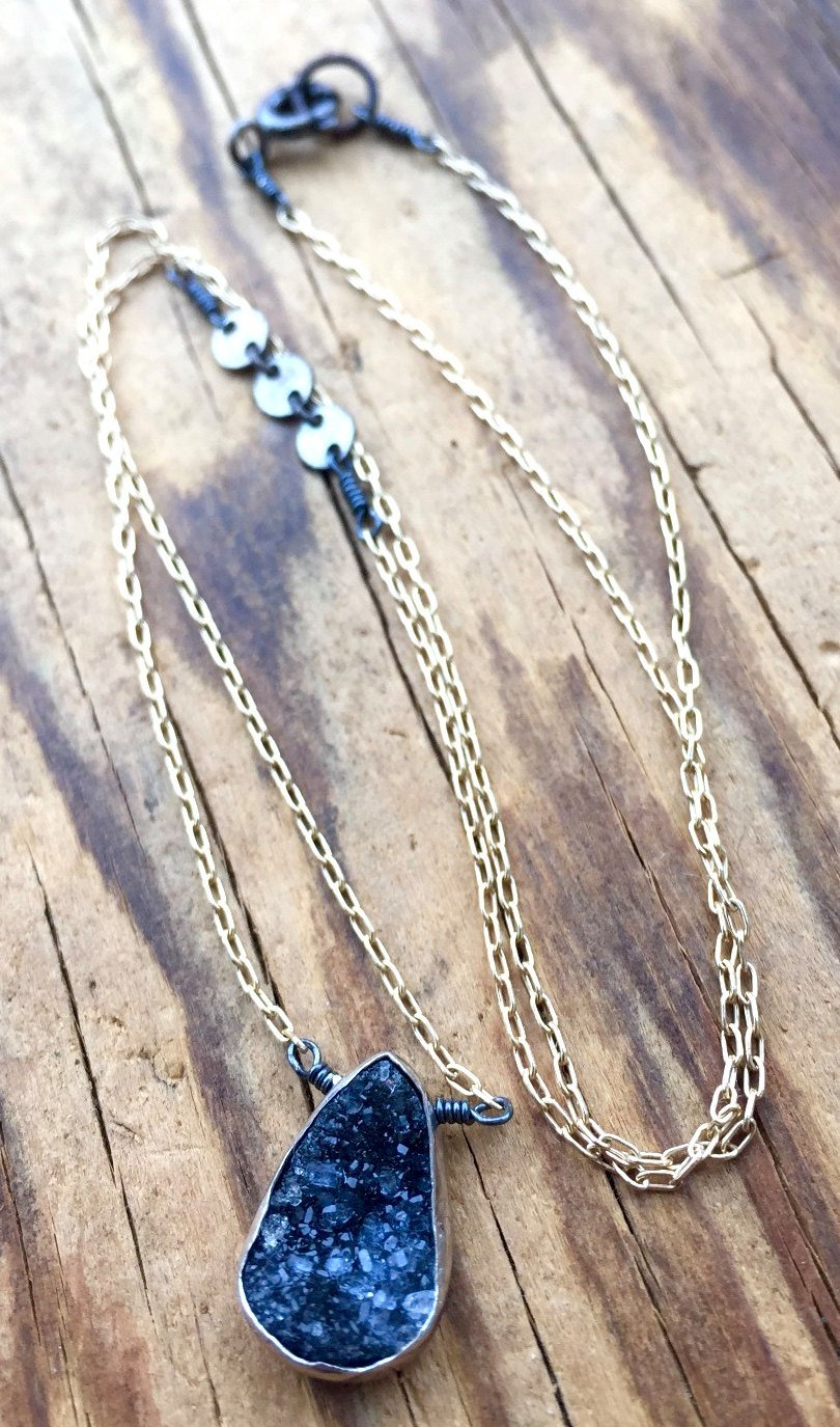 Druzy Necklace Mixed Metal Wrapped Quartz  Minimalist Necklace Gold Chain Druzy Pendant Third Eye Chakra Teardrop Shape Modern Fashion