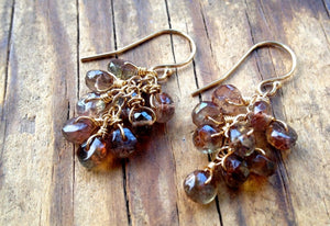 Andalusite Dangle Cluster Earrings, Color Change Gemstone, Wedding Jewelry