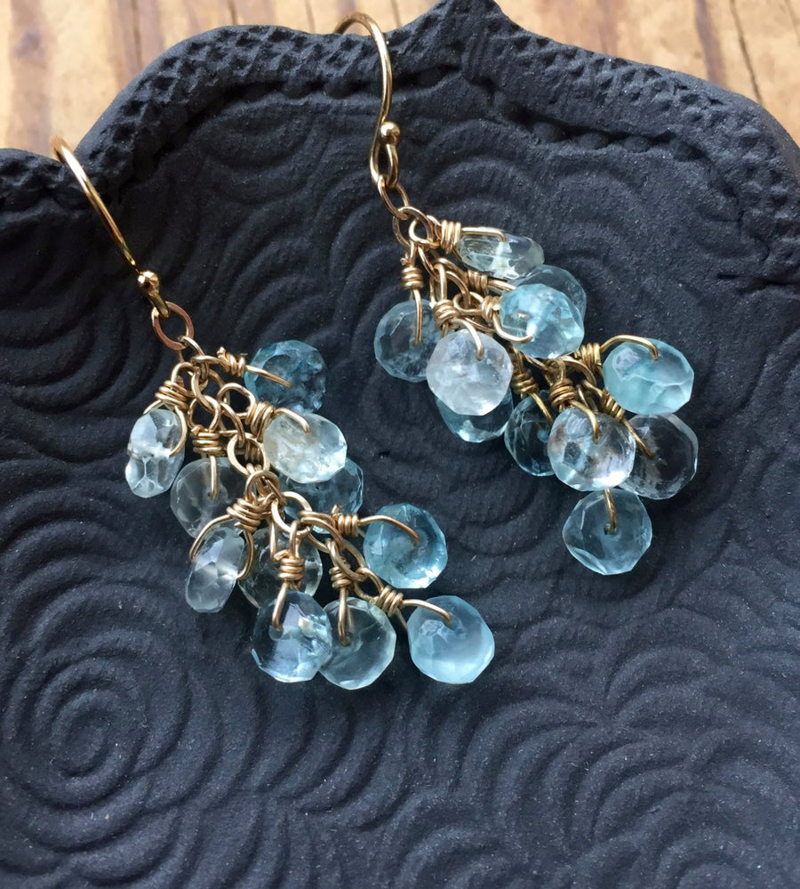 Aquamarine Cluster Earrings to support the Throat Chakra