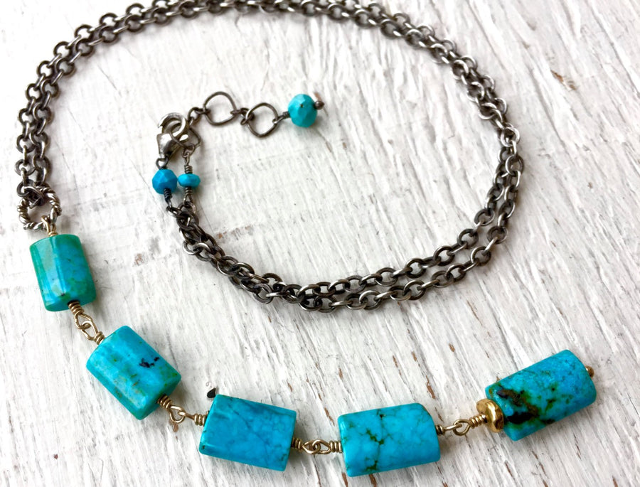 Turquoise Necklace Turquoise Jewelry Lariat Necklace December Birthstone Mixed Metal Southwest Jewelry Sundance Style Necklace