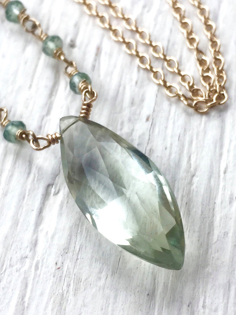 Green Amethyst Necklace, Wedding Jewelry Bridal Gift February Birthstone Prasiolite Marquis Pendant 14K Gold Filled Hand Wire Wrapped