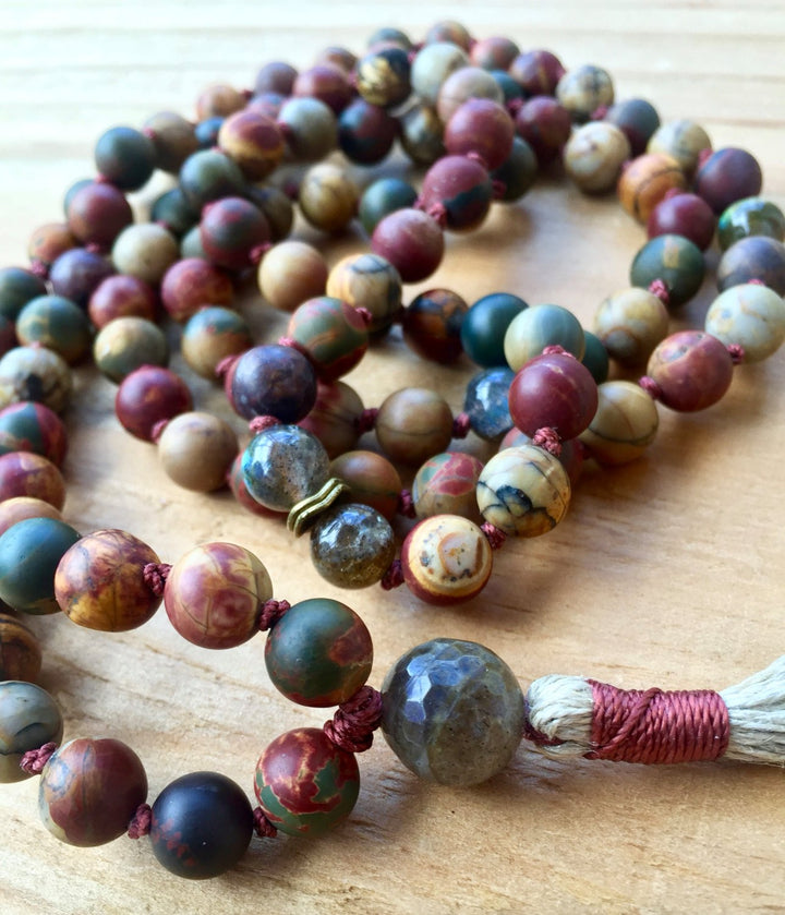 Mala Necklace Boho Jewelry Jasper & Labradorite Mala Beads Chakra Jewelry Unisex Gift For Men Yoga Jewelry Japa Mala Meditation Beads