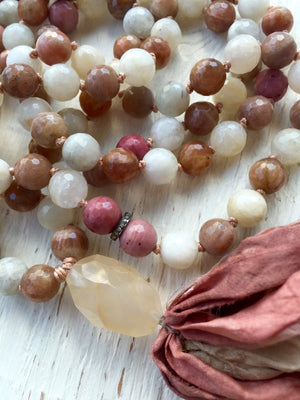 Moonstone Mala Necklace Sunstone Rhodonite Goddess Tassel Necklace Yoga Jewelry Chakra Mala Beads Healing Crystals  Silk Sari Tassel