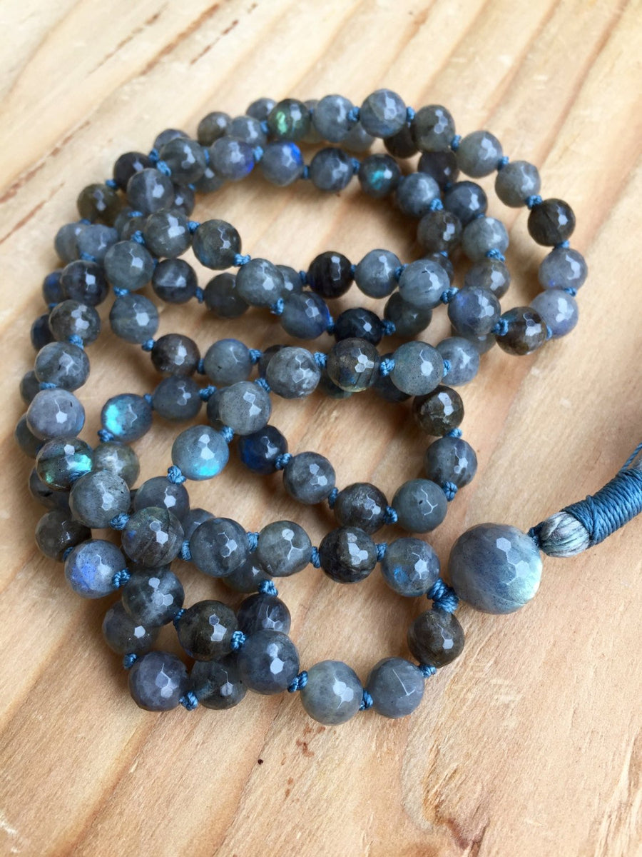 108 Hand Knotted Labradorite Mala Necklace for Intuition and Psychic Awareness