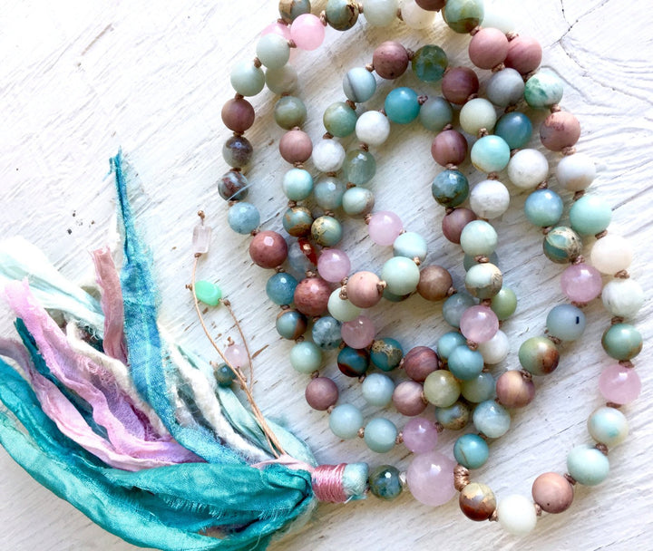 PEACEFUL HEART MALA Beads Calming Mala Necklace Rose Quartz Amazonite Mala Beads 108 Aquamarine Mala Beads Healing Crystals Yoga Gift