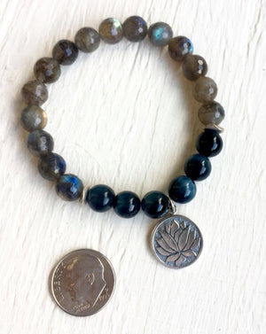 Labradorite and Blue Tiger Eye Mala Bracelet with Sterling Silver Lotus for Intuition and Psychic Healing