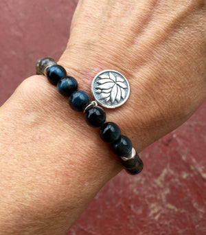 MANIFEST Labradorite and Tiger Eye Mala Bracelet for Protection, Intuition and Clairvoyance