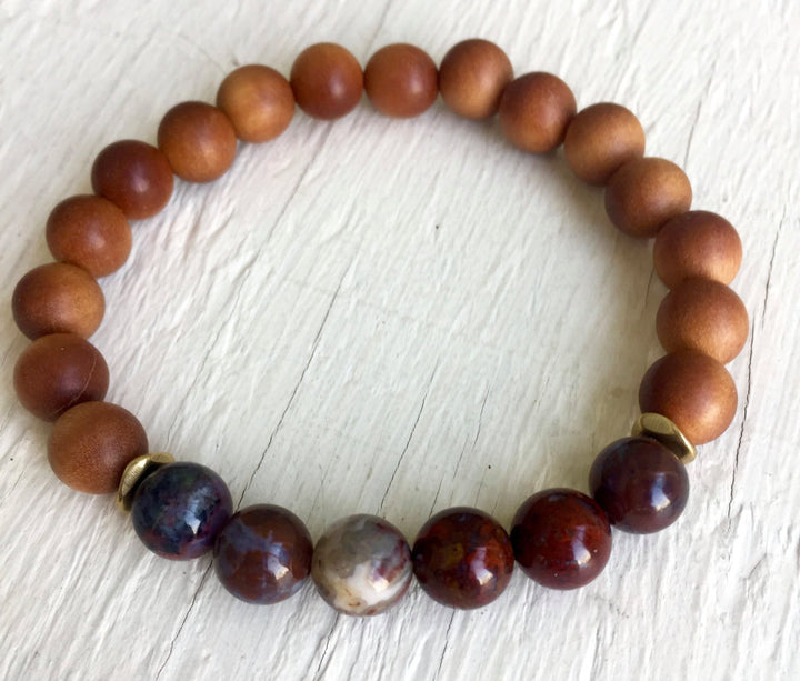 Boho Sandalwood Bracelet Sandalwood Mala Beads Stretch Bracelet Yoga Jewelry Gift with Meaning