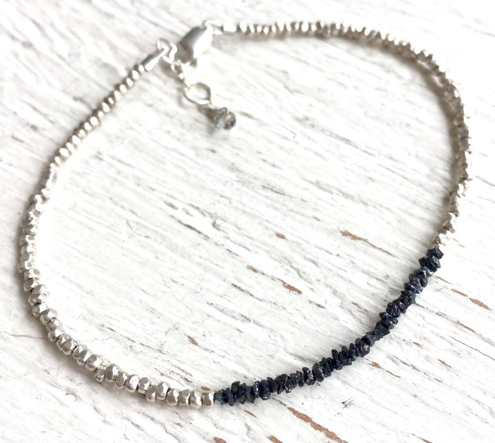 Raw Black Diamond and Thai Silver Delicate Bracelet for Intuition, Psychic Awareness and Clairvoyance