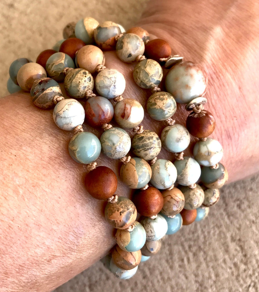 African Opal and Sandalwood Mala Beads for Stress Relief and Contentment